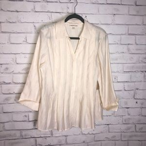 coldwater creek cream texture tuck detailed shirt